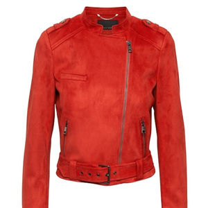 XS Red Vegan Stretch-Suede Moto Jacket